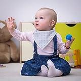 Dorri Baby Bandana Bibs and Burp Cloths, Unisex Pack of 3&3, 100% Organic Cotton, Bandana Drool Bib with Adjustable Snaps, Perfect Baby Gift Set for Boys and Girls
