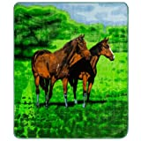 Clara Clark 71 by 87-Inch Micro Mink Animal Raschel Blanket, Twin, Horse