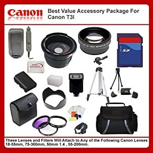 Best Value Accessory Package For Canon T3i T4i 650D includes: 16GB Hi Speed Error Free Memory Card, Hi Speed Card Reader, Battery & Charger, Hard Flower lens Hood, 0.5x Professional Wide Angle Lens , 2X Telephoto Lens, 50 Inch tripod, Digital Video Flash, Flash Diffuser and More...THIS LENS WILL ATTACH TO ANY OF THE FOLLOWING CANON LENSES 18-55mm, 50-200mm