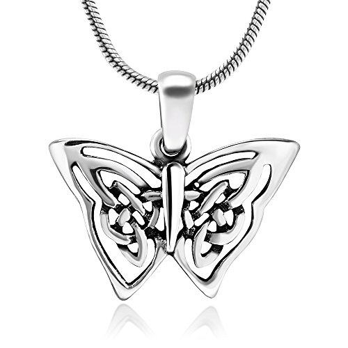 925 Oxidized Sterling Silver Butterfly Celtic Wing Pendant Necklace, 18 inches - Nickel Free