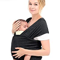 InnooBaby Baby Wrap Carrier Natural Cotton Nursing Baby Sling Suitable for Newborns to 35 lbs Lifetime Guarantee Breastfeeding Sling Soft Safe and Comfortable Nice Baby Shower Gift Black from Innoo Tech