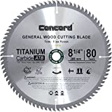 Concord Blades WCB0825T080HP 8-1/4-Inch 80 Teeth TCT General Purpose Hard & Soft Wood Saw Blade
