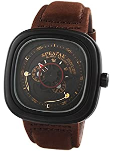 Alienwork Quartz Watch XXL Oversized Wristwatch Leather black brown U9053G-03