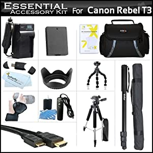 "Essential Accessory Kit For Canon EOS Rebel T3 Digital SLR Camera Includes Extended (1500Mah) Replacement LP-E10 Battery + AC/DC Charger + Case + Mini HDMI Cable + Remote Switch + 57"" Tripod + 10"" Flexible Tripod + Monopod + Wrist Grip Strap + Lens Hood +"