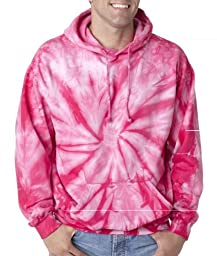 Colortone Adult Tie-Dyed Spider Hoodie - Pink - 2XL
