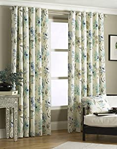 """Cruz Blue Cream 66"""" X 72"""" Floral Lined Ring Top Curtains #epolenep *riv* by PCJ Supplies"""