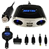 BESTEK usb adapter car cigarette lighter socket car splitter adapter 3 way plug socket usb outlet dc charger power adapter 12V socket 24V dc adapter car charger Ipad ( 2 USB charger 2.1A + 1 usb retractable cable+ 5 usb tips ) MRS152UV+T13A