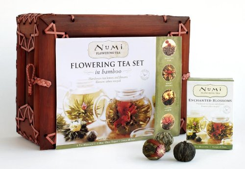 Numi Organic Tea Flowering Gift Set in Handcrafted Mahogany Bamboo Chest
