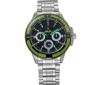 Mens Dress Watch Silver Metal Band Black Dial Green Bezel Decoration Subdials WH-106