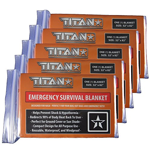 TITAN Two-Sided Emergency Mylar Survival Blankets (5-Pack), Safety-Orange / Hunter Orange | Designed for Space Exploration. Thermal Blankets are Perfect for Marathons, Emergency Kits, and Go-Bags. (Sleeping Bag Liner Insulated compare prices)