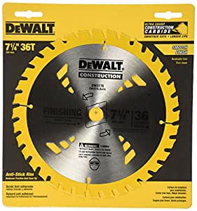 DEWALT DW3176 Construction Series 7-1/4-Inch 36-Tooth Thin Kerf Finishing Saw Blade with 5/8-Inch Diamond Knockout Arbor