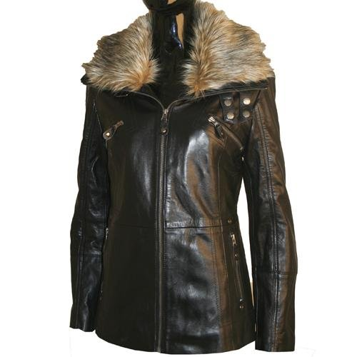 Ladies Soft Black Leather Fur Collar Jacket B2T Size Ladies Size 14 (XL)