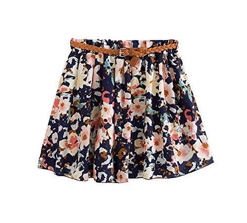 ARJOSA Girls Summer Floral Abstract Patterned Mini Skirts with Belt (Opt#7)