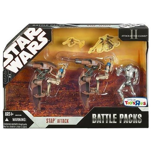 """Hasbro Battle Pack """"Stap Attack"""" mit 2 Stap & 2 x Battle Droid Officers & 1 Super Battle Droid – Star Wars 30th Anniversary Collection 2007 günstig online kaufen"""