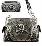 Pewter Skull Studded Conceal and Carry Purse  W Matching Wallet