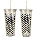 Iced Beverage Cup / Tumbler with Lid and Straw 2-Pack (Dots)