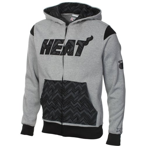 Miami Heat NBA Youth Full Zip Hoded Fleece Jacket, Gray and Black (Small (8))