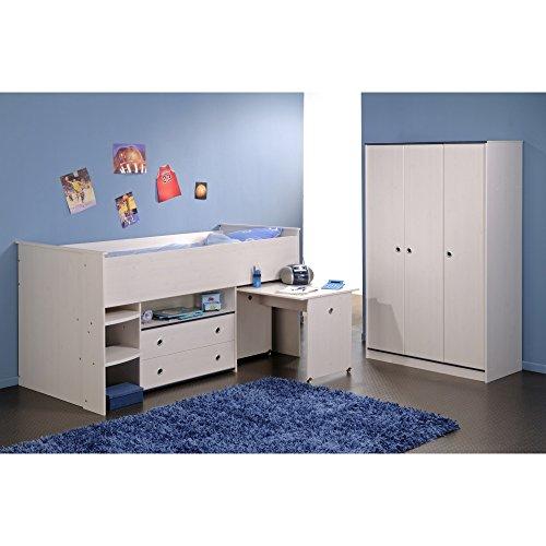 Parisot-2223-Kinderzimmer-SMOOZY-Hochbett-mit-Schreibtisch-Kleiderschrank-Kiefer-wei-blau-bzw-pink