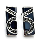 Unique Sterling Silver Black Onyx, Marcasite Earrings