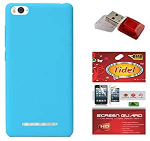 Tidel Ultra Thin and Stylish Rubberized Back Cover for Xiaomi Mi 4i (SkyBlue) With Tidel Screen Guard & Data Card Readar