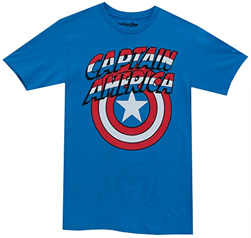 Captain America Logo with Flip Over Face Mask Mighty Fine Adult T-Shirt Tee