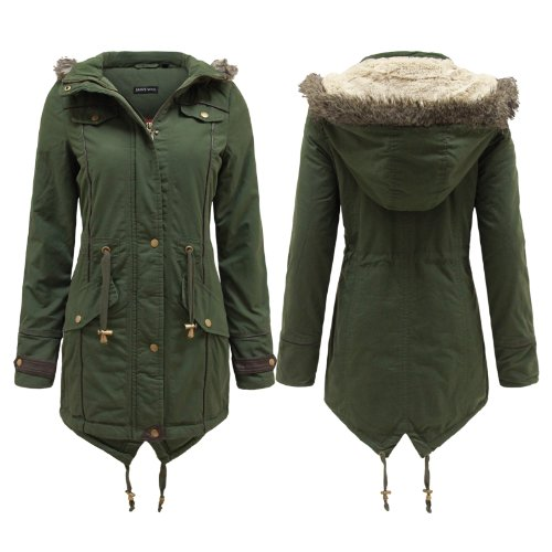 ... WOMENS FUR OVERSIZED HOOD FISHTAIL PARKA JACKET MILITARY COAT 8-22
