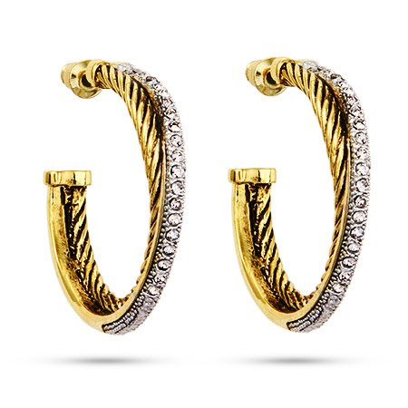 Gold Crossover CZ Cable Hoop Earrings
