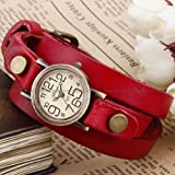 Ailisha Bronze Lady Wrap Bracelet Bangle Red Leather Quartz Wrist Watch WAA383