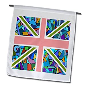 fl_58320_1 InspirationzStore British Flag Designs - Blue Mosaic Union Jack English Flag - Great Britain United Kingdom England Patriotic Design - Flags - 12 x 18 inch Garden Flag