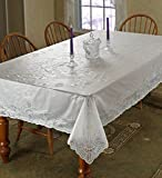 "Vinyl Lace Betenburg Design Tablecloth White 60"" by 90"" Oblong / Rectangle"