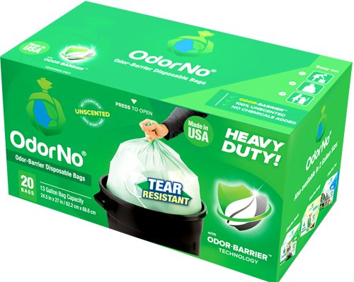 OdorNo Odor-Barrier Eco-Friendly Disposable Bags for Diapers, Pet Waste, Household Use (13Gallon Trash - 25 Bags)