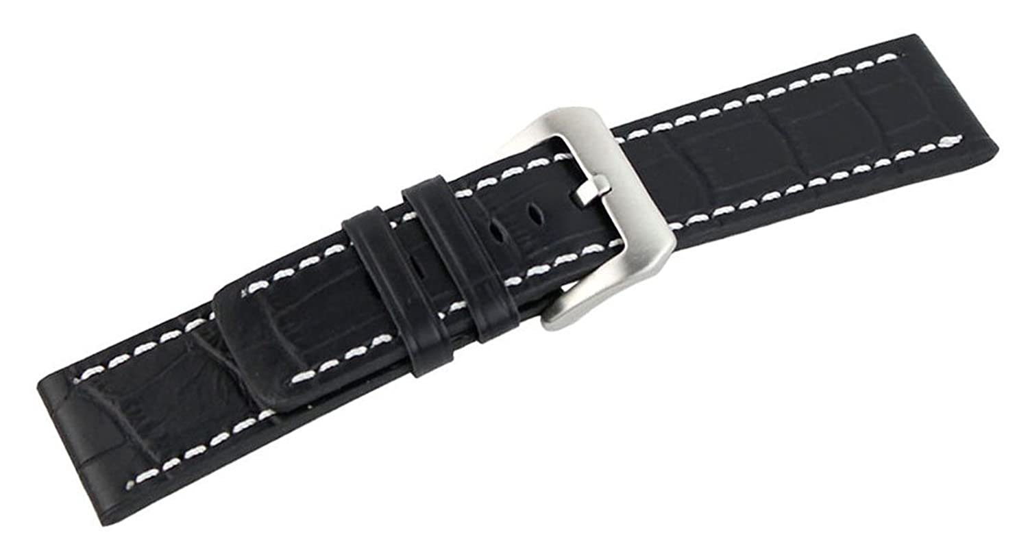 20mm Crocodile Grain Leather Watch Band Strap Contrast Stitch Color Black 18mm 20mm 22mm 24mm vintage leather fashion watch band watch men strap man watches straps black brown blue