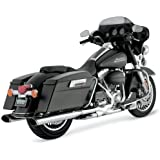 Vance & Hines Chrome Oval Twin Slash Slip-On Mufflers For Various Harley Davidson Models ( See Specifications For Exact Fitments ) - 16767