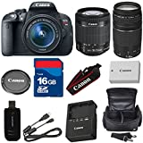 Canon T5i Digital SLR Camera with EF-S 18-55mm f/3.5-5.6 IS STM Lens + For 75-300mm III Zoom + High Speed 16GB Memory Card + High Speed Reader + 6pc Bundle - International Version