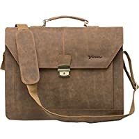 Vicenzo Professional Full Grain Leather Briefcase Messenger Bag / Laptop Bag by Vicenzo Leather