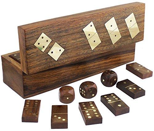 Domino legno fatti a mano set e cinque dadi in scatola di immagazzinaggio gioco - 6,1 x 20,32 x 5,59 cm