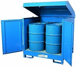 Enpac 9040-BU Heavy Gauge Steel 4-Drum Hazmat Locker, 2400 lbs Load Capacity, 56\