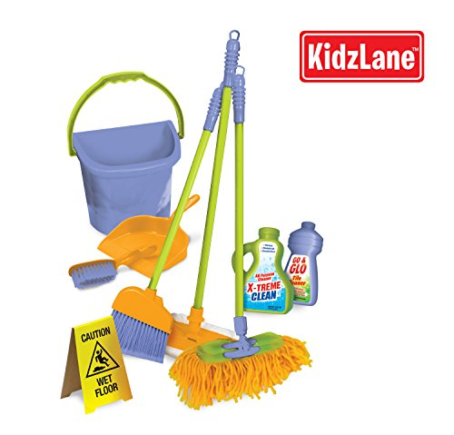 Durable Kids Cleaning Set With Pretend Play House Cleaning Tools - Duster, Broom, Brush, Mop, Dust Pan, Water Bucket And Wet Floor Sign back-747258