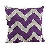 Generic Decorative Cotton Linen Throw Pillow Cover Chevron Stripe Pillowcase 18x18 Inch Purple