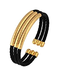 The Jewelbox Wire Mesh Black Gold Plated Free Size Cuff Kada Bracelet For Men