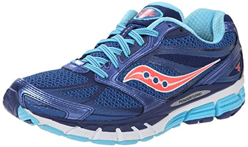 Saucony Women's Guide 8 Road Running Shoe, Blue/Navy/Coral, 8.5 M US