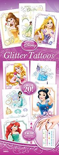 Disney Princess Glitter Temporary Tattoos, 20 sheets, 20 designs including Nail Art, Ariel, Belle, Cinderella, Rapunzel, Snow White, Tiana, Sleeping Beauty, Jasmine.