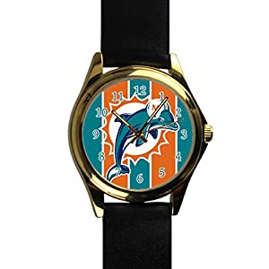 Time Walker Men's Easy to Read NFL New England Patriots Crocodile Faux Leather Black Analog Watches