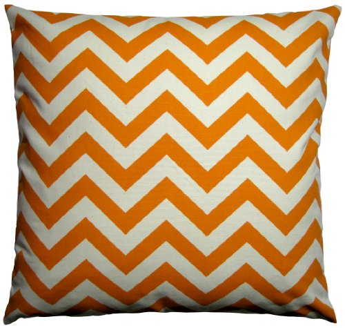 Jinstyles Cotton Canvas Chevron Striped Accent Decorative Throw Pillow Cover / Pillowcase (Orange & Beige, Square, 1 Cover For 18 X 18 Inserts)