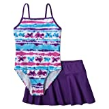 Girls' Swimwear Xhilaration Purple/White 2 pc Swim Suit Set