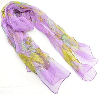 NS71 - Gorgeous Purple 100% Pure Silk Butterfly Scarf /Head Scarf