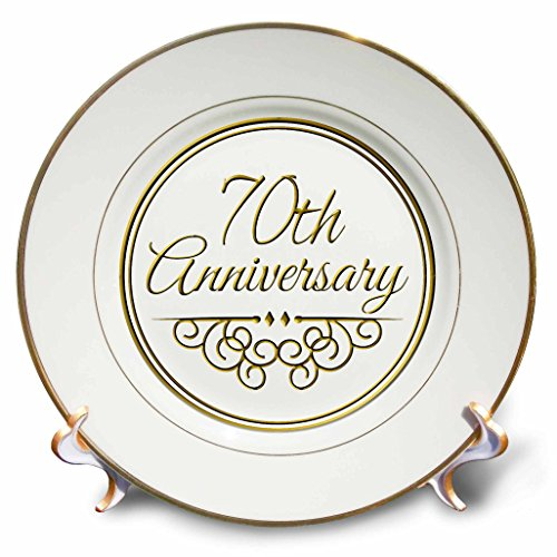 3dRose cp_154512_1 70th Anniversary Gift-Gold Text for Celebrating Wedding Anniversaries-70 Years Married Together-Porcelain Plate, 8-Inch