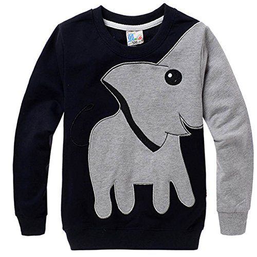Tecrok Little Boys' Super Cute Elephant Print Sport Long Sleeve Pullover T Shirt 4-5 Years Black (Gifts For 4 Yr Old Girls compare prices)