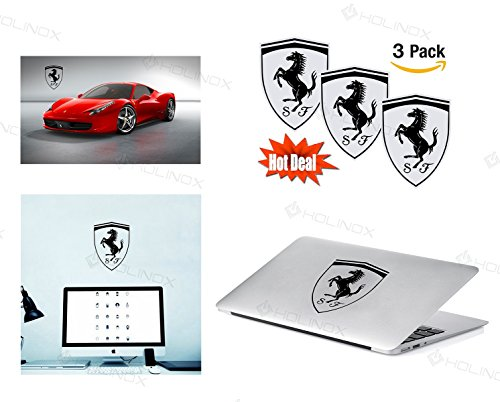 Ferrari Logo Stickers Decal - Set of 3 Decals - High Resolution, Superior Finish and Transparent Background - Ideal for
