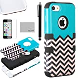 Pandamimi ULAK(TM) Hybrid High Impact Soft TPU and Hard PC Case Cover for Apple iPhone 5C with Screen Protector and Stylus (FOLLOW THE SKY/Black)
